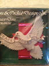 Ibis & Orchid PEACE DOVE CROSS Christmas Tree Ornament Hope Love Unopened box