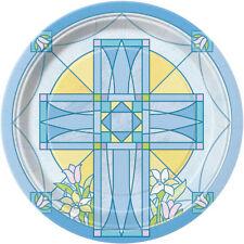 8 X Sacred Croix Bleue Assiettes en Papier Baptême Confirmation Communion