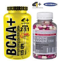 BCAA 125 Tabs + CREATINE ALKALINE 120 Caps Amino Acids Strongest Anabolic Crea