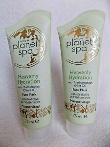 AVON 2 x PLANET SPA HEAVENLY HYDRATION ~ OLIVE OIL ~ CREAM FACE MASKS 75ml each