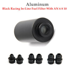 Gm Black Racing In Line Fuel Filter With An 6 8 10 Fittings Adapter 60 Micron