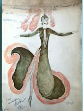 RUSSIAN USSR CIRCUS/THEATRE/BALLET COSTUME WATERCOLOR SKETCH PAINTING 80's #132