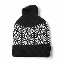 BLACK AND WHITE LANA Fair Isle Pompon cappello Beanie