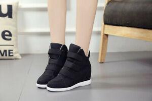 Baskets sneakers compensées noires talon haut caché black High Wedge Heels mode