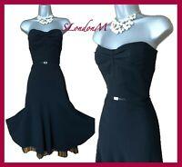 KAREN MILLEN 12 UK Black Plain Elegant Strapless Princes Style Cocktail Dress 40