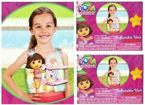 2 Pack Nickelodeon Dora the Explorer Inflatable Swim Vest Ages 3+ New Old Stock