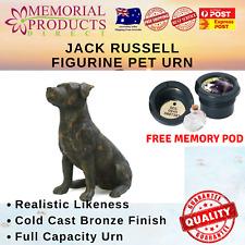 Jack Russell Urn Antique Bronze Figurine Cast Resin