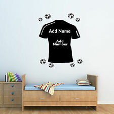 Personalised Name & Number FootBall Shirt Wall Art Sticker Bedroom Boys & Girls