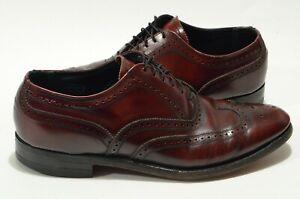 Florshiem Imperial 10 D Burgundy Leather Wing Tip Oxford Dress Shoes