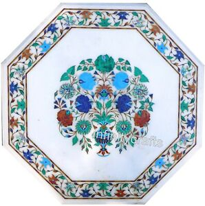 """30"""" White Marble Coffee Table Top Inlay Multicolor Stones Patio Table for Garden"""