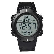 Waterproof Men's Watch Boy Sport LCD Digital Stopwatch Date Rubber Wrist Watch