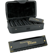 New Hohner Piedmont Blues 7 Harmonica Pack with Case, Seven Harmonicas