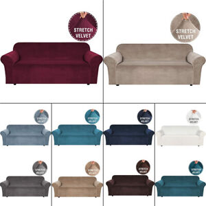 1/2/3/4 Seater Velvet Elastic Stretch Sofa Covers Slipcover Protector Settee