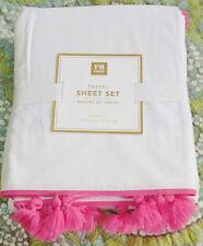 Pottery Barn Teen Tassel Sheet Set Twin XL Pink White New