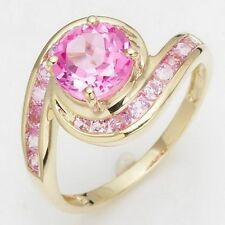 Cute Size 7 Round Cut Pink Topaz 10KT Gold Filled Anniversary Ring For Women's