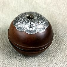 Vintage Indo Persian Wood & Metal Trinket Box Primitive Hand Crafted Ethnic