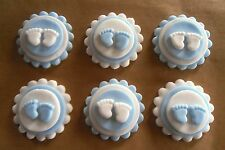 6 Edible Sugarpaste BABY FEET Cupcake Toppers- BOYS BABY SHOWER OR CHRISTENING