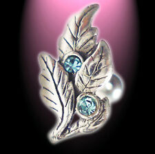 Helix Piercing Filigrane Feuilles Avec Cristaux Aqua Argent 925