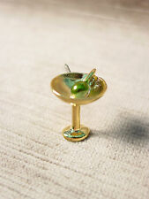 """JJ"" Jonette Jewelry Bright Gold Pewter MARTINI with Olive Tac Pin"