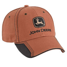 JOHN DEERE *BROWN WASHED COTTON CANVAS* w/Accent CAP HAT *BRAND NEW*