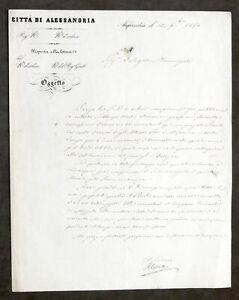 Autografo sindaco Città di Alessandria - Pietro Cordova - 1890