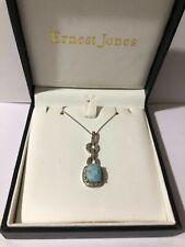 Ernest Jones Larimar & Diamond Sterling Silver Pendant Necklace