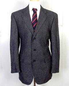 euc Jos. A. Bank Men's Gray 95% Lambswool / 5% Cashmere Tweed 3 Btn Blazer 42 L