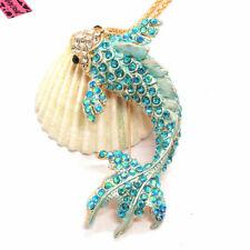 Hot Blue Bling Cute Goldfish Fish Crystal Pendant Betsey Johnson China Necklace