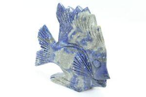 Hand made Natural Blue Lapiz Lazuli Stone Fish Figure Home Decorative Gift item