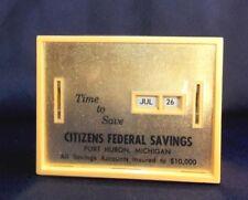Vtg. All Coin Calendar Bank Citizen's Federal Savings Conscience Slot No Key