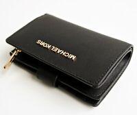 Michael Kors portemonnaie geldbörse jet set travel bifold zip wallet schwarz neu