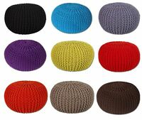 100% Cotton Round Handmade Double Knitted PouffeFoot Stool Braided Cushion Pouff