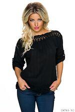 Sexy Langarm Shirt Pullover Longshirt Oberteil Tunika Schwarz 34 36 38
