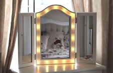 Large Wooden White LED Lights Hollywood Dressing Table Triple Fold Glass Mirror
