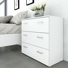 Space Modern Deep 3 Drawer Chest of Drawers in White Bedroom Furniture