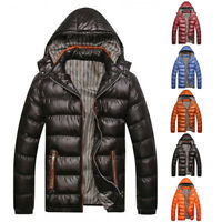 NEW Men's Slim Fit Parka Winter Hooded Puffer Jacket Quilted Cotton Coat Bubble