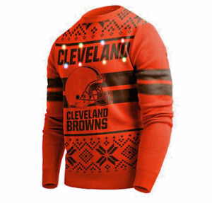 CLEVELAND BROWNS NFL MEN'S OFFICIAL FOCO LED LIGHT-UP UGLY SWEATER, NWT