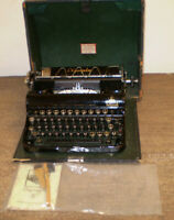 1935-1938 Vintage Olympia E Elite Typewriter Black with Case, Manuals, Brushes