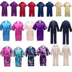 2PCS Unisex Kids Boys Girls Silk Pajamas Outfit  Tops+Pants Sleepwear Loungewear