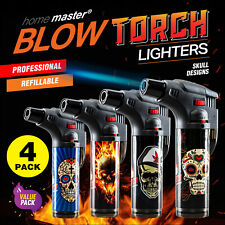 Home Master Blow Torch 4pk Jet Gas Lighter Refillable Skull Designs