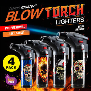 Home Master 4PK Blow Torch Jet Gas Lighter Refillable Skull Designs
