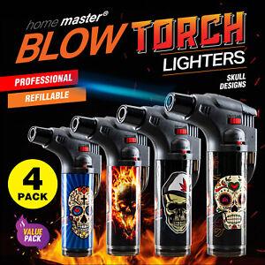 Home Master® 4PK Blow Torch Jet Gas Lighter Refillable Skull Designs