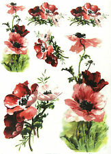 Rice Paper for Decoupage, Scrapbook Sheet, Craft Painted Flowers