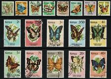 "Kenya - Scott 424A-440 Used - SCV $26.80 ""Butterflies"""