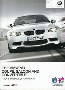 BMW M3 4.0 V8 Saloon Coupe Convertible UK Market Brochure March 2011