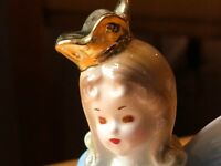 Vintage JOSEF ORIGINALS 9th Birthday Girl Angel FairyFigurine Blue Christmas