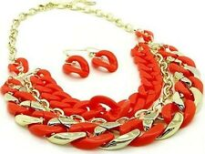 CHUNKY  ORANGE AND GOLD    STATEMENT      NECKLACE AND EARRING SET 5BdTY1 8
