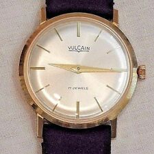 Vintage Vulcain 14K Yellow Gold Men's Wristwatch in Original Box with Papers
