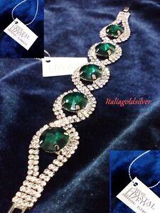 Bracciale Donna v.Smeraldo Argento 925 SWAROVSKI ORIGINALI Cristalli Gioielli