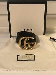 Gucci Damen Gürtel, GG Marmont mit glänzender Schnalle,schwarz, 80cm
